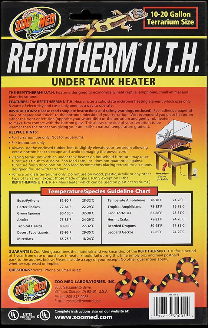 レプティサーム アンダータンクヒーターs ズーメッド 販売 通販