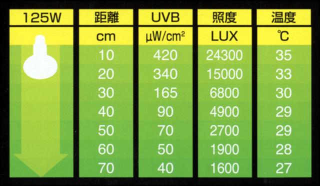 エキゾテラ ソーラーグローUV125Wからの距離と紫外線量・照度・温度の目安