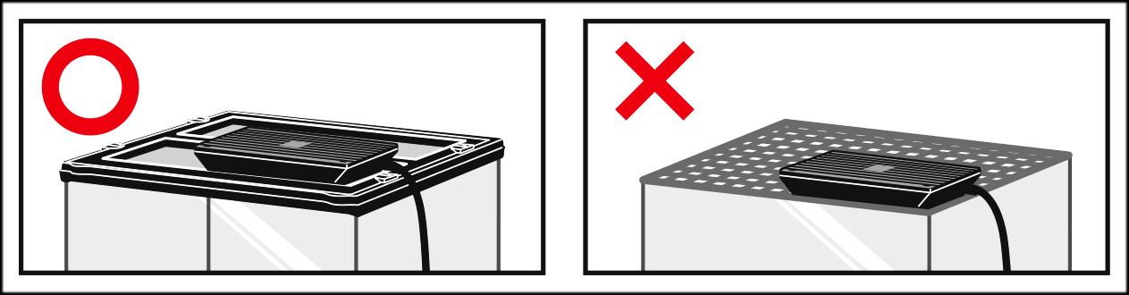 ヒーティングトップ 天面にフチのないケージには使用しないでください。